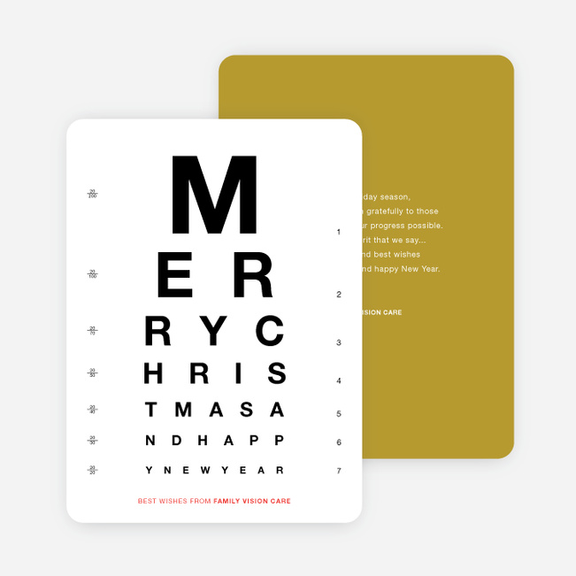 Happy Holidays Corporate Eye Chart Cards | Paper Culture