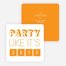 Retro New Year's Party Invitations - Orange