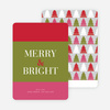 Merry & Bright Christmas Tree Cards - Red