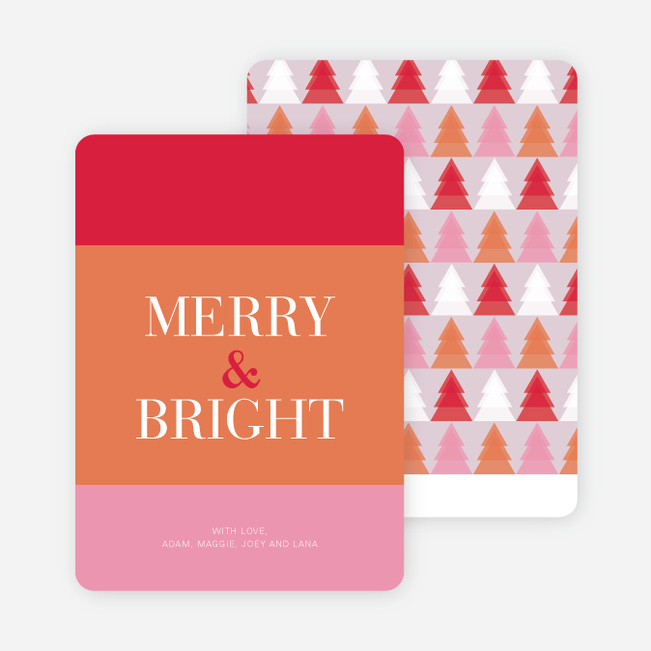 Merry & Bright Christmas Tree Cards - Pink