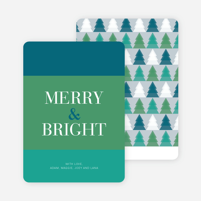 Merry & Bright Christmas Tree Cards - Blue