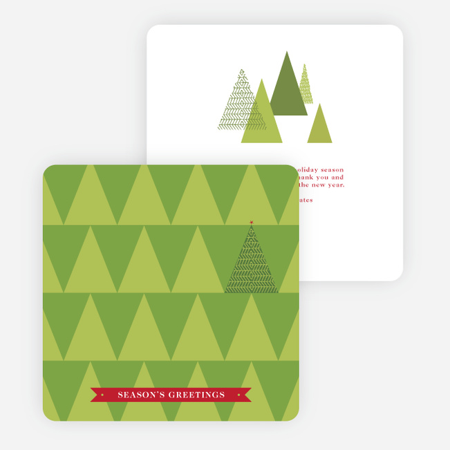 Modern Christmas Tree Christmas Cards - Red