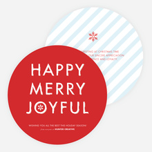 Happy, Merry, Joyful Striped Holiday Cards - Red