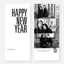 Black and White New Year's Cards - Black