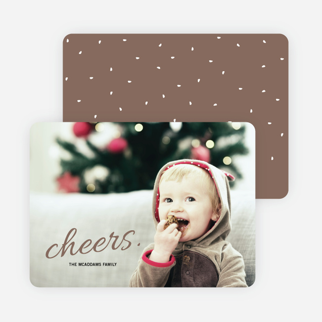 Cheers Snow Winter Photo Cards - Brown