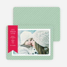 Holiday Photo Cards: Joy, Peace & Love Stripes - Green