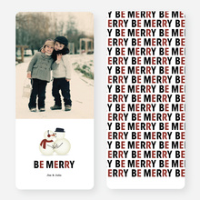 Kissing Snowmen Holiday Cards - Red