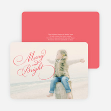 Merry & Bright Script Holiday Cards - Red