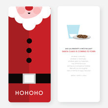 Santa's Awfully Happy with His Milk & Cookies Cards - Red