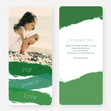 Strokes of Joy, Peace & Love Christmas Cards - Green