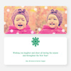 Fluttering Snowflake Holiday Photo Cards - Green