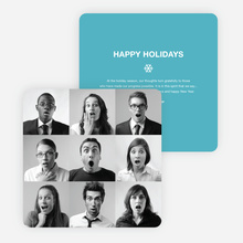 Brady Bunch Squares Holiday Cards for Small Business - Blue