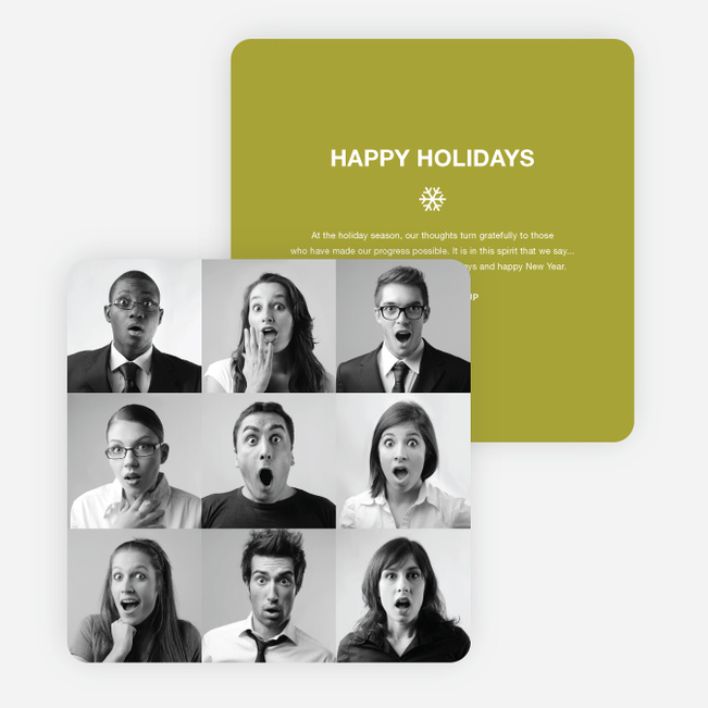 Brady Bunch Squares Holiday Cards for Small Business - Green