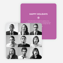 Brady Bunch Squares Holiday Cards for Small Business - Purple