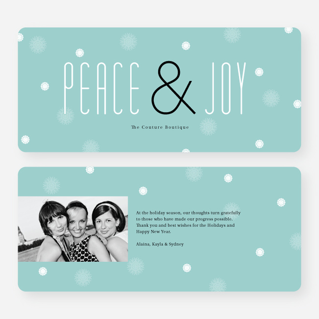 Floral Peace & Joy Holiday Greeting Cards - Blue