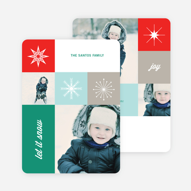 Uniquely Snowflake Holiday Cards - Green