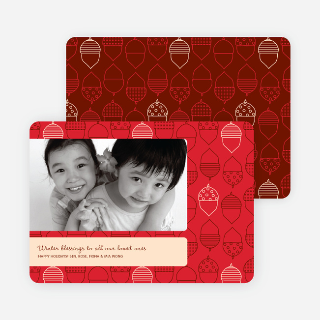 Acorn Blessings Holiday Photo Cards - Sangria