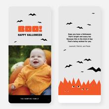 Bats, Boo, Halloween Cards - Orange