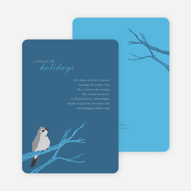 Bird on Branch Holiday Invitations - Blueberry