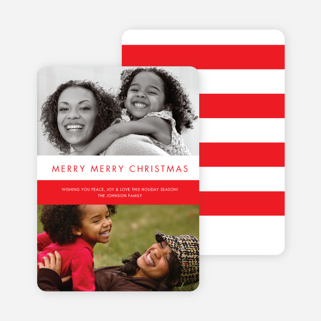 Christmas Photo Sandwich Holiday Photo Cards - Tomato Red