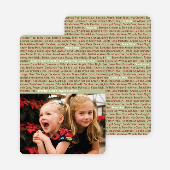 Christmas Words Photo Card - Sage Green
