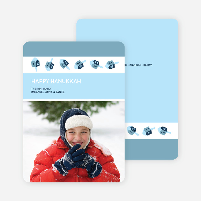Dreidel Fun Hannukah Photo Cards - Vista Blue