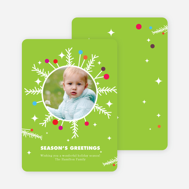 Eccentric Wreath Holiday Photo Card - Celery