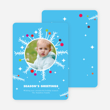 Eccentric Wreath Holiday Photo Card - Cornflower Blue