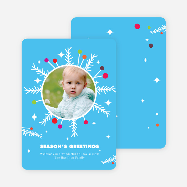 Eccentric Wreath Holiday Photo Card - Cornflower Blue
