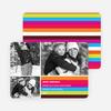 Festive Rainbow Stripes Holiday Photo Cards - Magenta