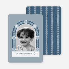 Hanukkah Card Featuring Jewish Arch - Cadet Blue