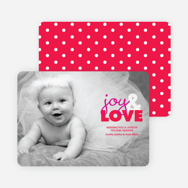 joy & LOVE Holiday Photo Cards by giggle - Cupid Red