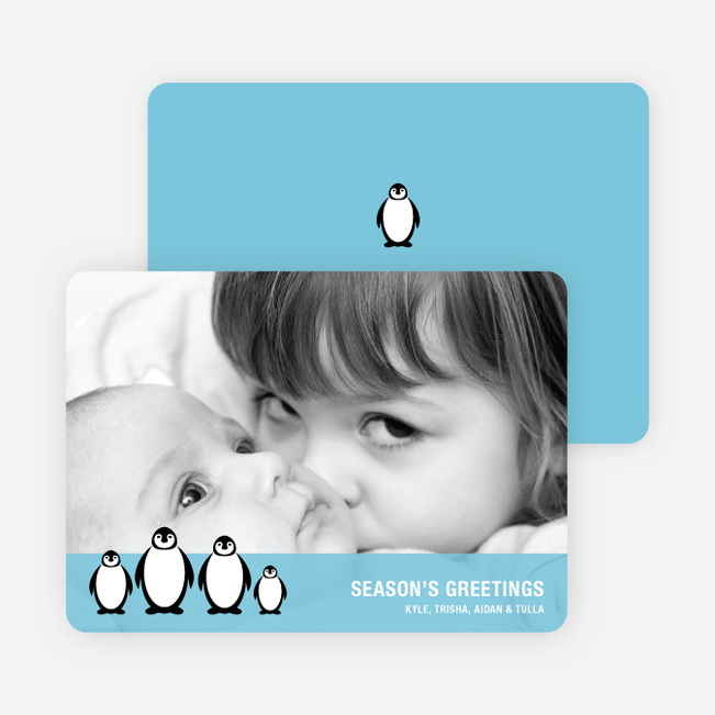 Penguin Holiday Photo Cards - Periwinkle Blue