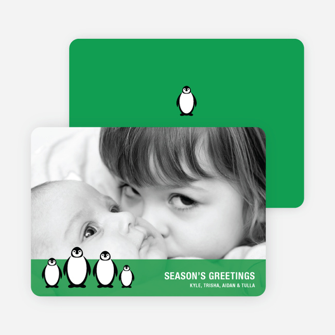 Penguin Holiday Photo Cards - Kelly Green