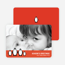Penguin Holiday Photo Cards - Fire Engine Red