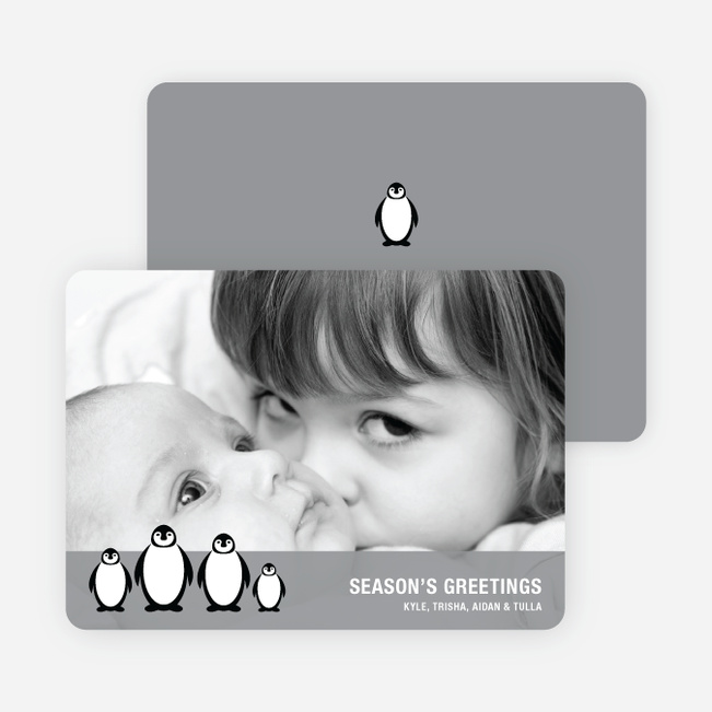 Penguin Holiday Photo Cards - Grey