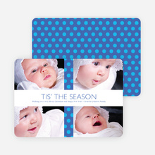 Polkadot Gift Wrap Holiday Photo Cards - Royal Blue