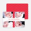 Polkadot Gift Wrap Holiday Photo Cards - Hot Pink