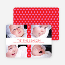 Polkadot Gift Wrap Holiday Photo Cards - Hot Pink