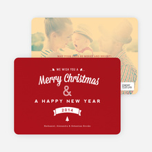 Retro Merry Christmas Cards - Red
