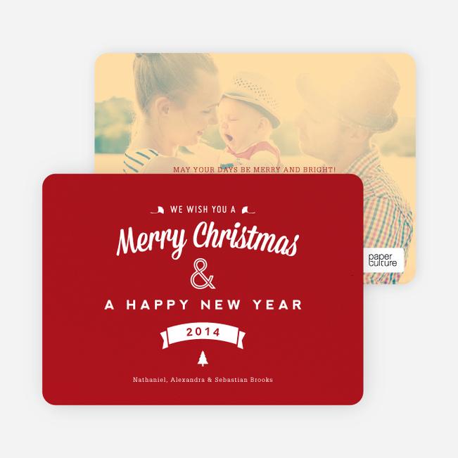 Retro Merry Christmas Cards - Red