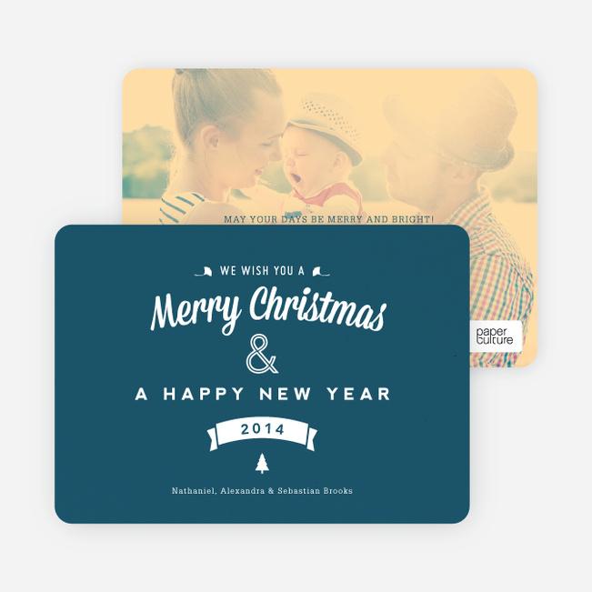 Retro Merry Christmas Cards - Blue