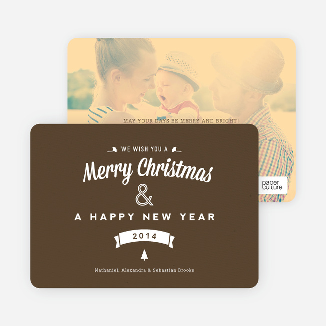 Retro Merry Christmas Cards - Brown