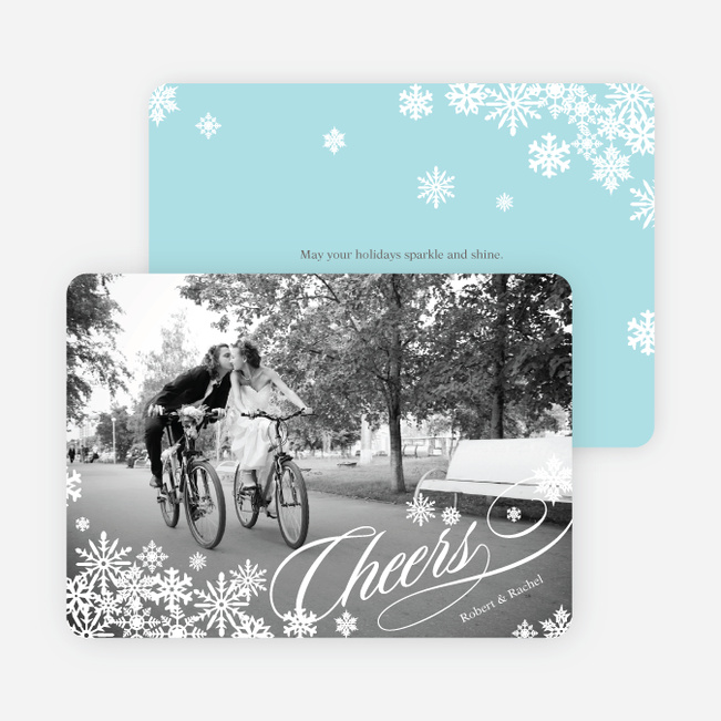Snowflake Cheers Holiday Photo Cards - White