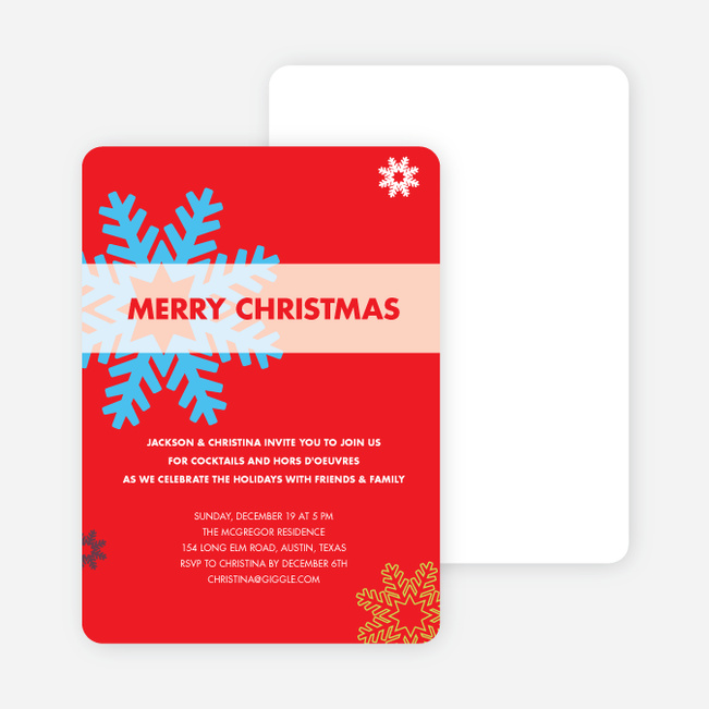 Snowflake Holiday Party Invitations - Bright Red