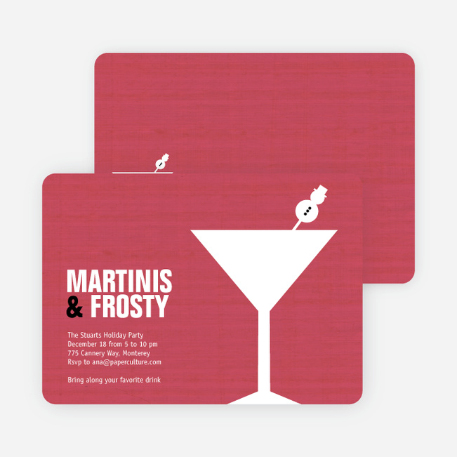 Snowman Martini Holiday Party Invitations - Punch