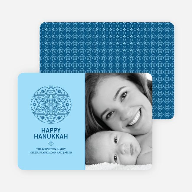 Star of David Hanukkah Photo Cards - Cadet Blue