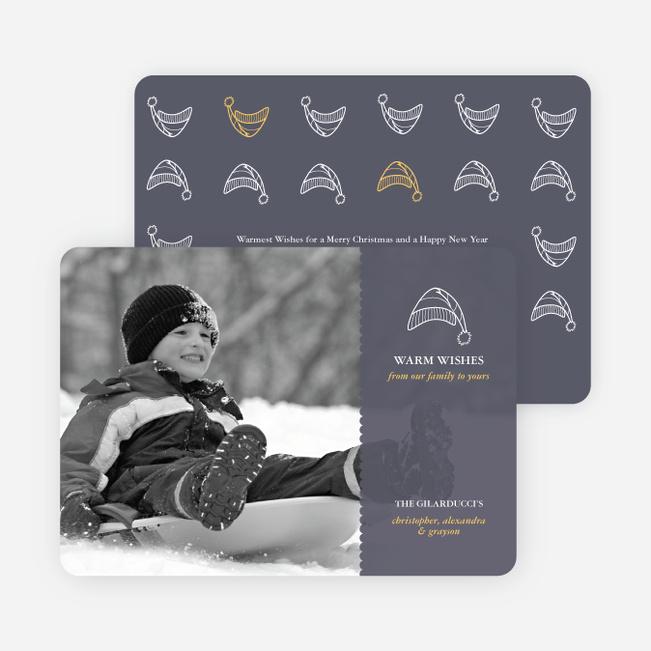 Winter Sledding Holiday Photo Card - Slate Grey