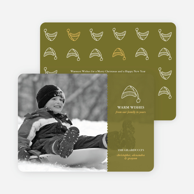 Winter Sledding Holiday Photo Card - Olive Green