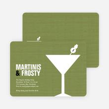 Snowman Martini Holiday Party Invitations - Asparagus